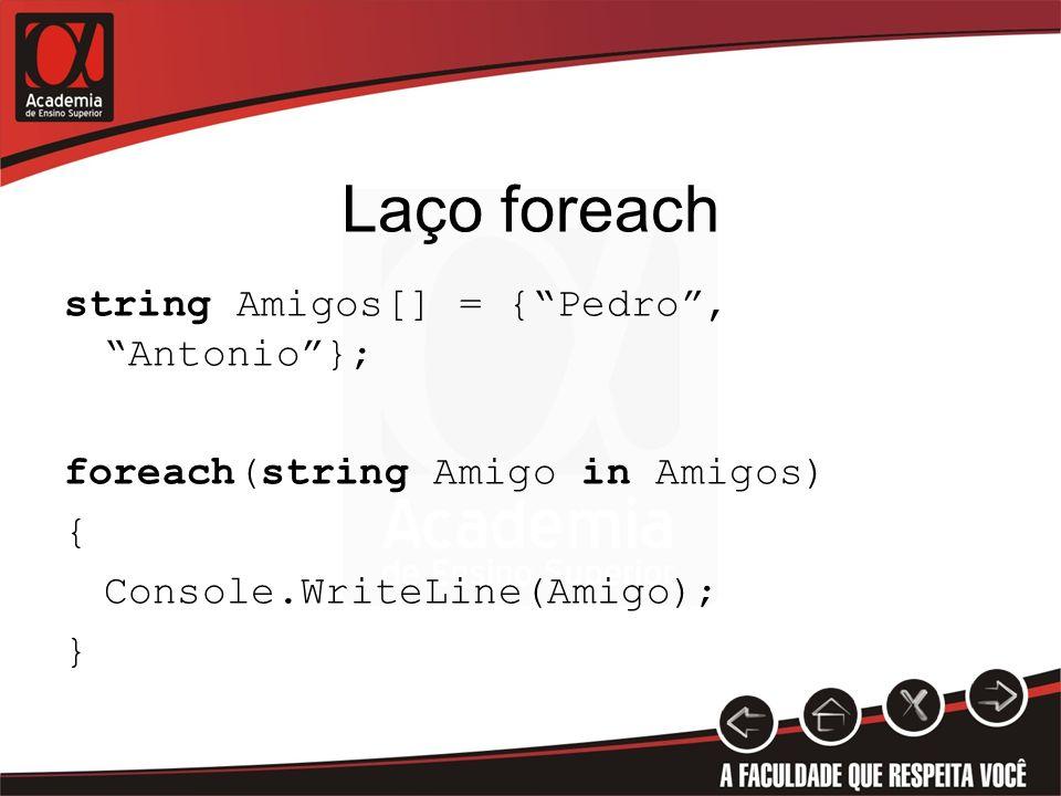 Laço foreach string Amigos[] = {Pedro, Antonio}; foreach(string Amigo in Amigos) { Console.WriteLine(Amigo); }