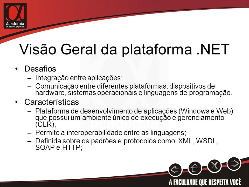 Visão Geral da plataforma.NET Desafios –Integração entre aplicações; –Comunicação entre diferentes plataformas, dispositivos de hardware, sistemas ope