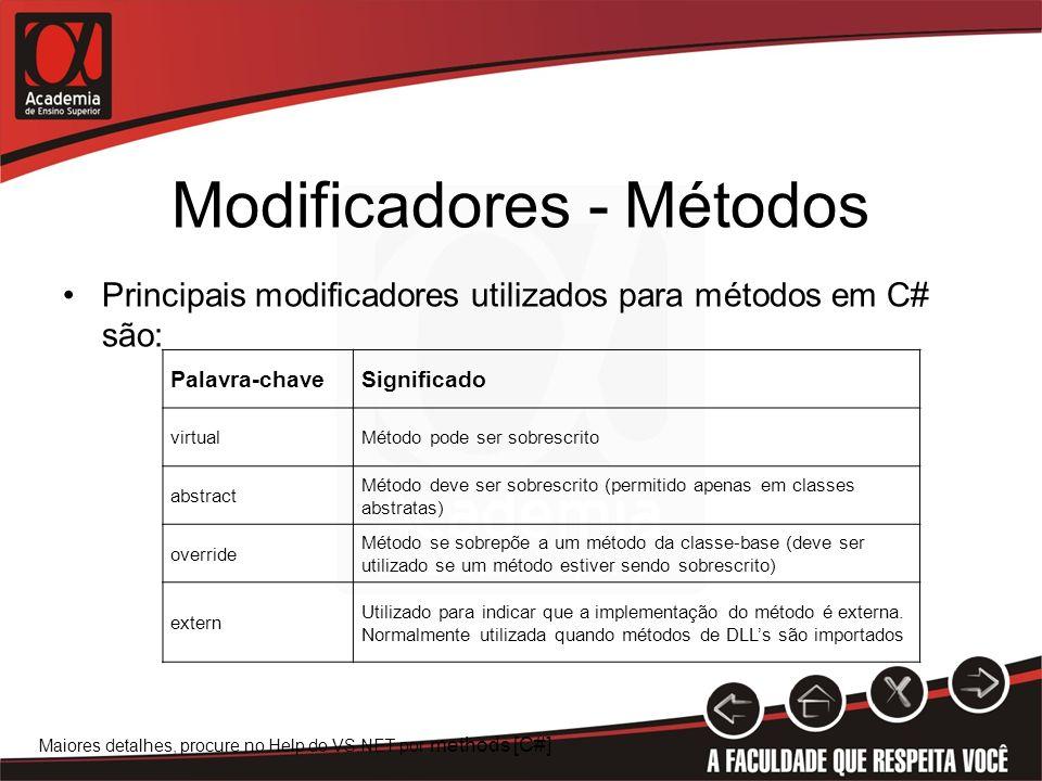 Modificadores - Métodos Principais modificadores utilizados para métodos em C# são: Palavra-chaveSignificado virtualMétodo pode ser sobrescrito abstra