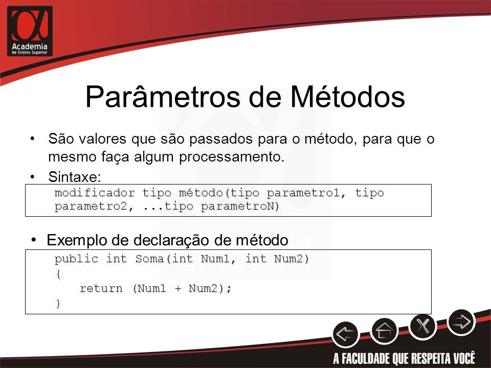 Parâmetros de Métodos São valores que são passados para o método, para que o mesmo faça algum processamento. Sintaxe: public int Soma(int Num1, int Nu
