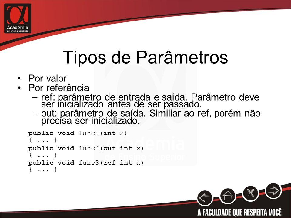 Tipos de Parâmetros Por valor Por referência –ref: parâmetro de entrada e saída. Parâmetro deve ser inicializado antes de ser passado. –out: parâmetro