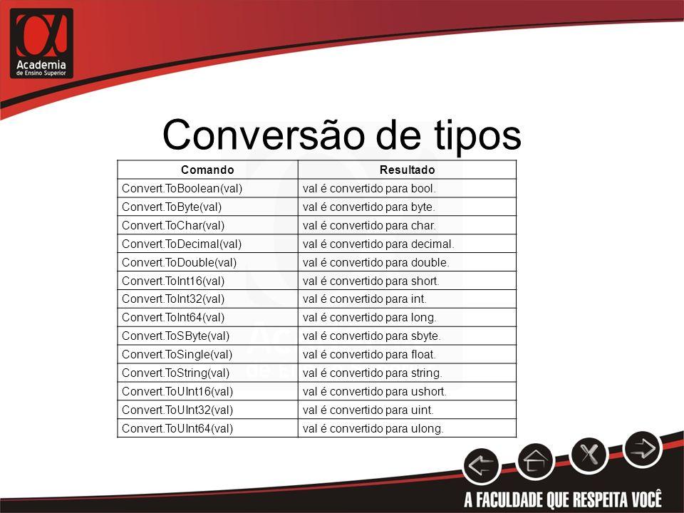 Conversão de tipos ComandoResultado Convert.ToBoolean(val)val é convertido para bool. Convert.ToByte(val)val é convertido para byte. Convert.ToChar(va