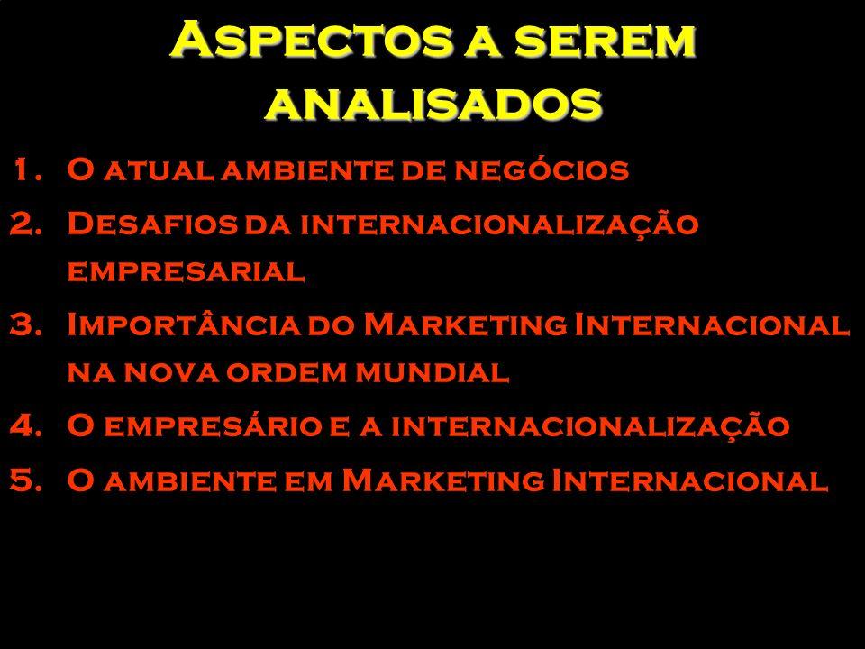 As matérias do Marketing Internacional PRIMEIRAS ETAPAS DE INTERNACIONALIZAÇÃO ETAPAS POSTERIORES À INTERNACIONALIZAÇÃO MATÉRIAS RELATIVAS A GESTÃO EMPRESARIAL Acesso a mercados e estratégias de expansão Seleção de mercados Novos atributos (ecologia, responsabilidade social...) Resultados da Relação estratégia Estandardização (tipificação) Segmentação intramercado Interação /Estabelecimento de redes Acordos de cooperação Comércio de compensação Organização da empresa multinacional MATÉRIAS RELATIVAS A POLÍTICAS PÚBLICAS Promoção comercial (programas infra-estrutura, incentivos) Formação, Investigação e Desenvolvimento Eficácia nos programas de assistência Feiras comerciais no exterior Escritórios comerciais no exterior Criação de ambiente e medidas de competitividade Acesso a mercados Mega projetos /contratações Negociações comerciais Integrações regionais Cooperações regionais Fonte: Cavusgil (1997)