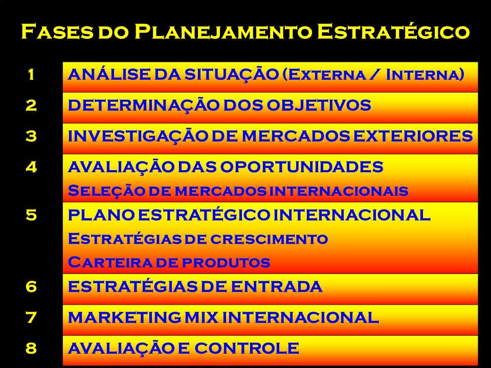 Processo de marketing Internacional Mercado alvo Perfil do consumidor Promoção Praça Preço Produto PLANO DE MARKETING Pesquisa de mercado Ambiente de