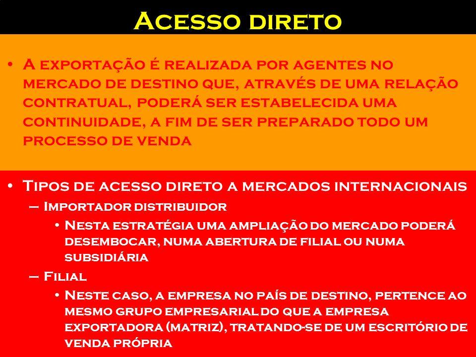 Alternativas de acesso a mercados exteriores Acesso direto –Agentes no destino –Importador - distribuidor –Filial Acesso indireto –Agentes Comissionad