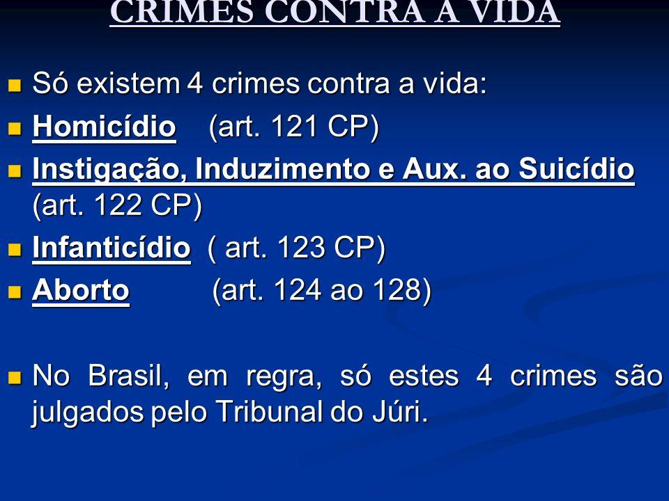 CRIMES CONTRA A VIDA Só existem 4 crimes contra a vida: Só existem 4 crimes contra a vida: Homicídio (art. 121 CP) Homicídio (art. 121 CP) Instigação,