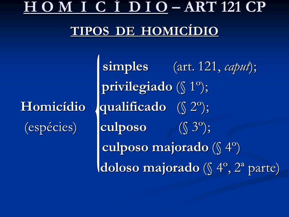 H O M I C Í D I O – ART 121 CP TIPOS DE HOMICÍDIO simples (art. 121, caput); simples (art. 121, caput); privilegiado (§ 1º); privilegiado (§ 1º); Homi