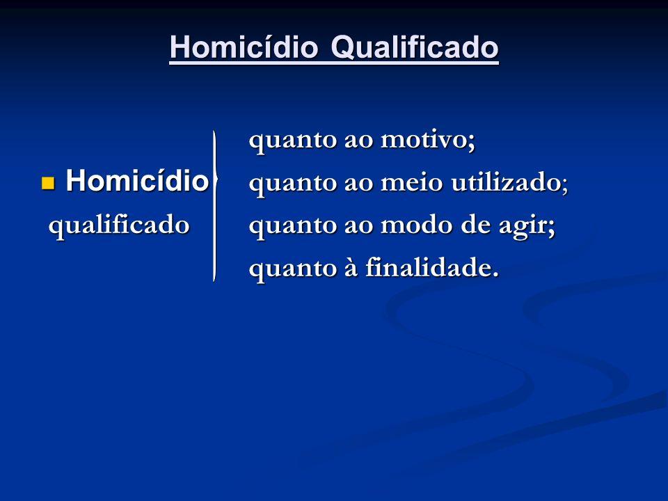 Homicídio Qualificado quanto ao motivo; quanto ao motivo; Homicídio quanto ao meio utilizado; Homicídio quanto ao meio utilizado; qualificado quanto a