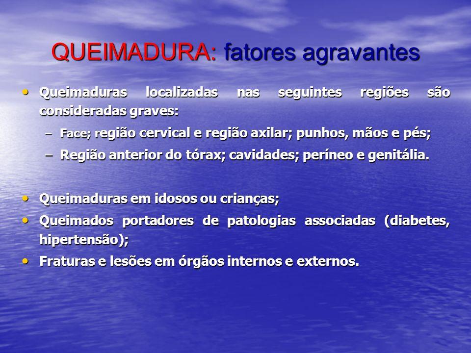 QUEIMADURA: fatores agravantes Queimaduras localizadas nas seguintes regiões são consideradas graves: Queimaduras localizadas nas seguintes regiões sã