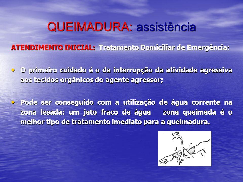 QUEIMADURA: assistência ATENDIMENTO INICIAL: Tratamento Domiciliar de Emergência: O primeiro cuidado é o da interrupção da atividade agressiva aos tec