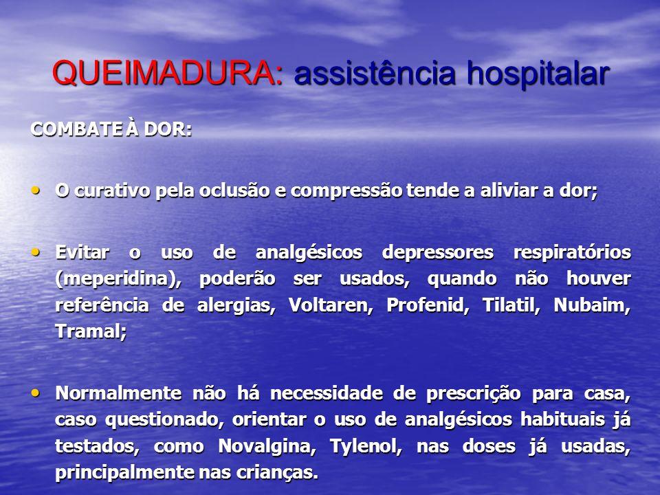 QUEIMADURA: assistência hospitalar COMBATE À DOR: O curativo pela oclusão e compressão tende a aliviar a dor; O curativo pela oclusão e compressão ten