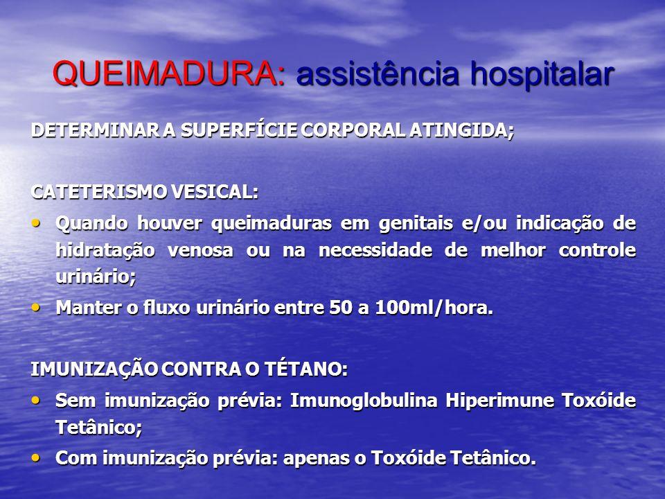 QUEIMADURA: assistência hospitalar DETERMINAR A SUPERFÍCIE CORPORAL ATINGIDA; CATETERISMO VESICAL: Quando houver queimaduras em genitais e/ou indicaçã