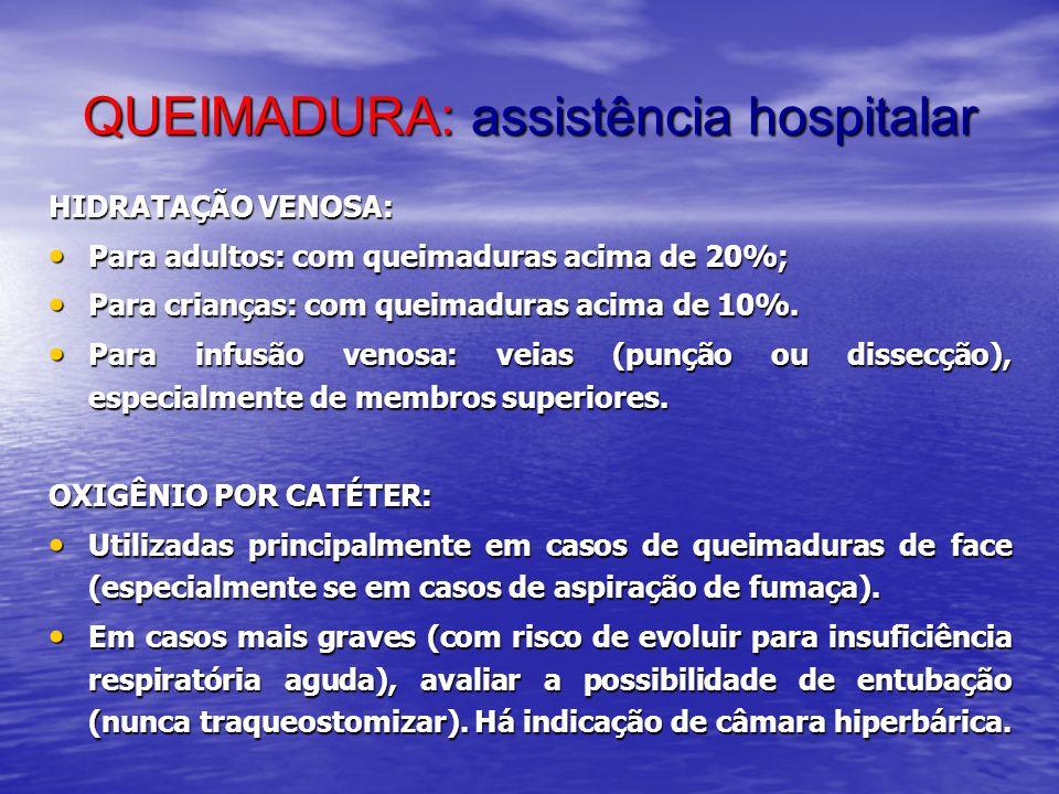 QUEIMADURA: assistência hospitalar HIDRATAÇÃO VENOSA: Para adultos: com queimaduras acima de 20%; Para adultos: com queimaduras acima de 20%; Para cri