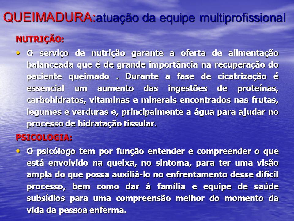 QUEIMADURA: atuação da equipe multiprofissional NUTRIÇÃO: O serviço de nutrição garante a oferta de alimentação balanceada que é de grande importância
