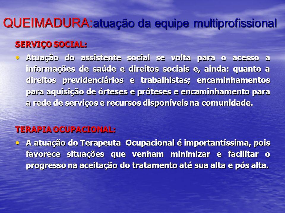 QUEIMADURA: atuação da equipe multiprofissional SERVIÇO SOCIAL: Atuação do assistente social se volta para o acesso a informações de saúde e direitos
