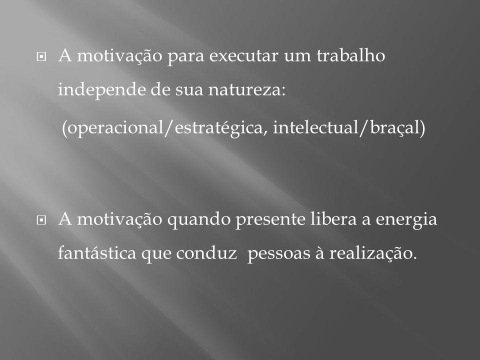 A motivação para executar um trabalho independe de sua natureza: (operacional/estratégica, intelectual/braçal) A motivação quando presente libera a energia fantástica que conduz pessoas à realização.