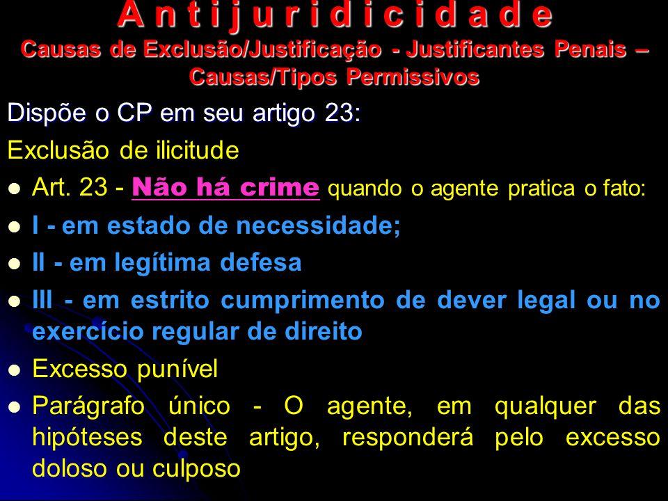 A n t i j u r i d i c i d a d e Causas de Exclusão/Justificação - Justificantes Penais – Causas/Tipos Permissivos Dispõe o CP em seu artigo 23: Exclus