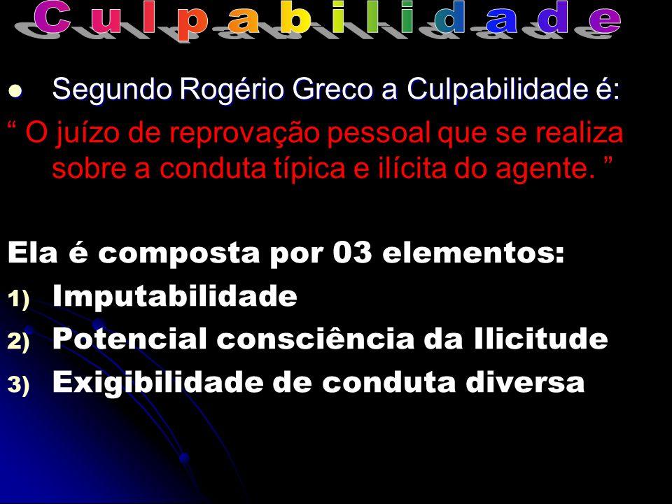 Segundo Rogério Greco a Culpabilidade é: Segundo Rogério Greco a Culpabilidade é: O juízo de reprovação pessoal que se realiza sobre a conduta típica