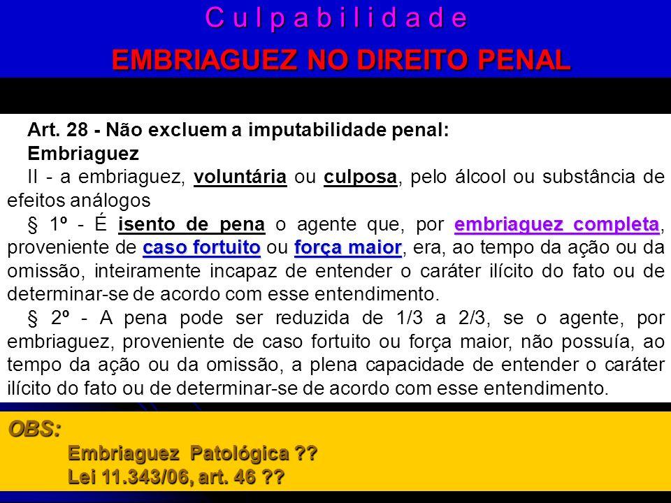 C u l p a b i l i d a d e EMBRIAGUEZ NO DIREITO PENAL Art. 28 - Não excluem a imputabilidade penal: Embriaguez II - a embriaguez, voluntária ou culpos