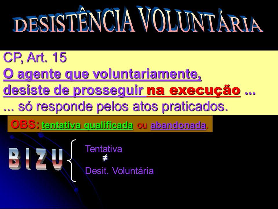 CP, Art. 15 O agente que voluntariamente, desiste de prosseguir na execução...... só responde pelos atos praticados. Tentativa Desit. Voluntária OBS: