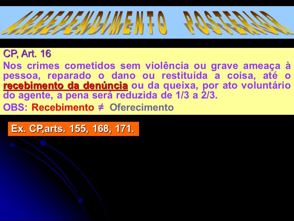 CP, Art. 16 Nos crimes cometidos sem violência ou grave ameaça à pessoa, reparado o dano ou restituída a coisa, até o recebimento da denúncia ou da qu