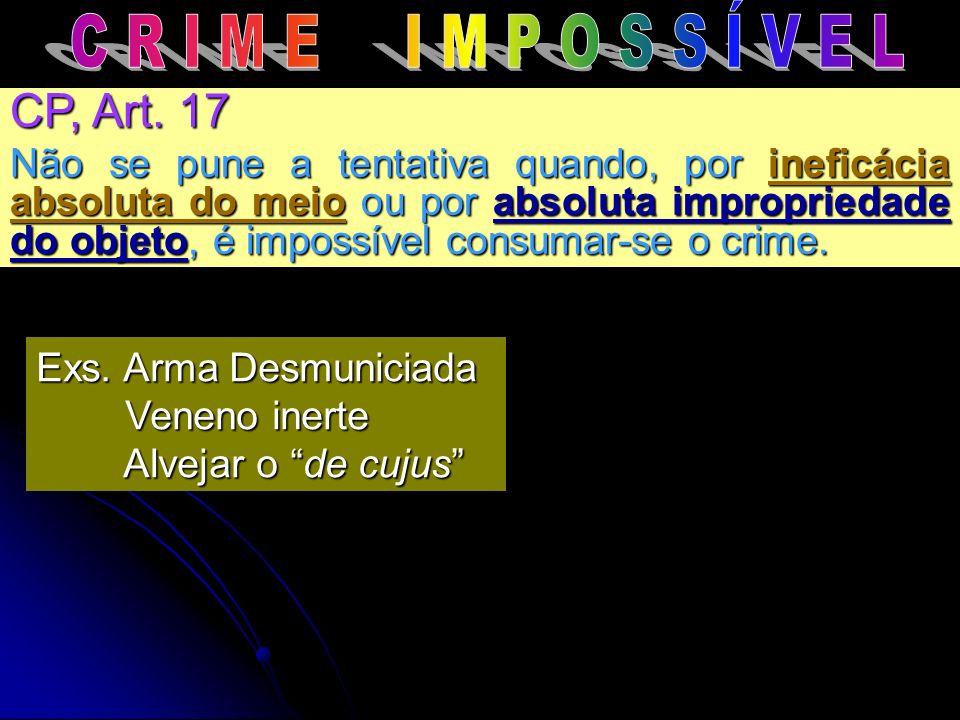 CP, Art. 17 Não se pune a tentativa quando, por ineficácia absoluta do meio ou por absoluta impropriedade do objeto, é impossível consumar-se o crime.