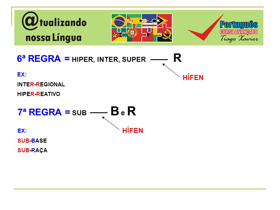 6ª REGRA = HIPER, INTER, SUPER R HÍFEN EX: INTER-REGIONAL HIPER-REATIVO 7ª REGRA = SUB B e R HÍFEN EX: SUB-BASE SUB-RAÇA