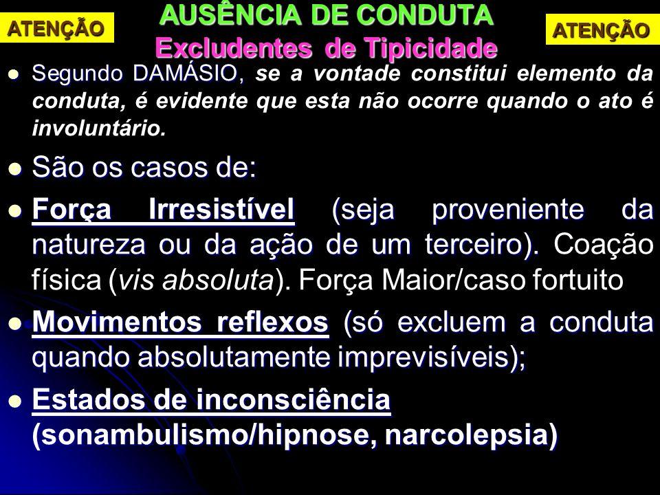 AUSÊNCIA DE CONDUTA Excludentes de Tipicidade Segundo DAMÁSIO, Segundo DAMÁSIO, se a vontade constitui elemento da conduta, é evidente que esta não oc