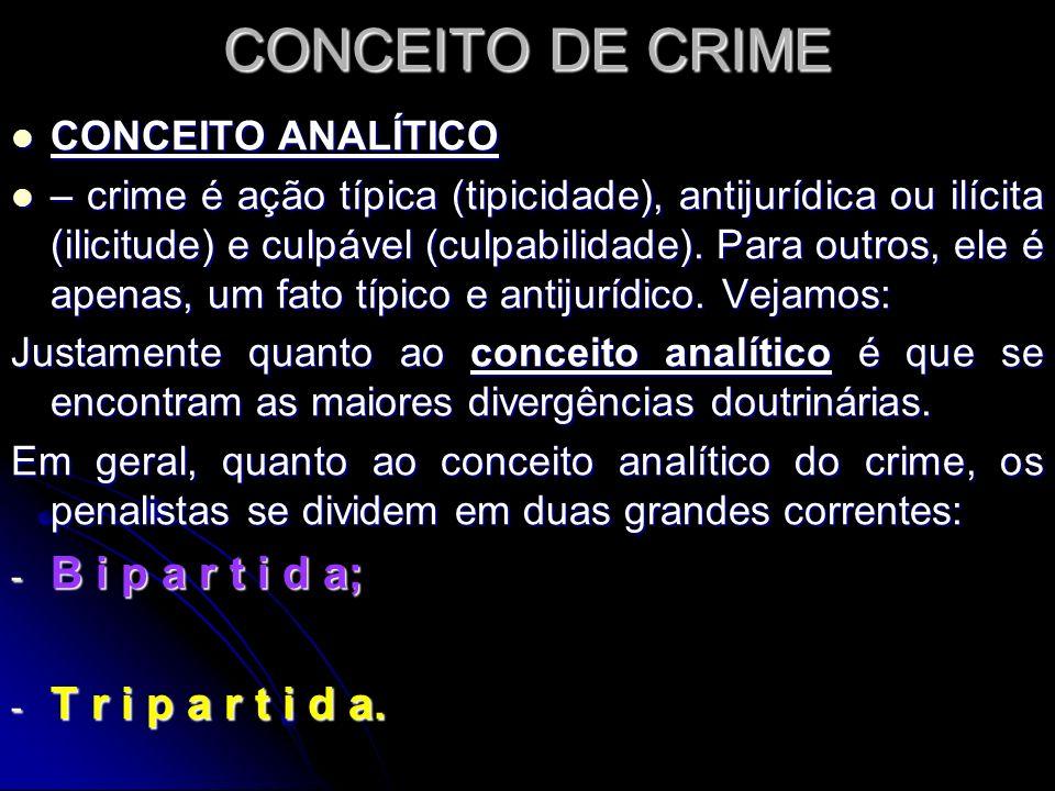 CONCEITO ANALÍTICO 1) B i p a r t i d a – Crime é: - um fato típico e antijurídico, sendo a culpabilidade apenas um pressuposto de aplicação da pena.
