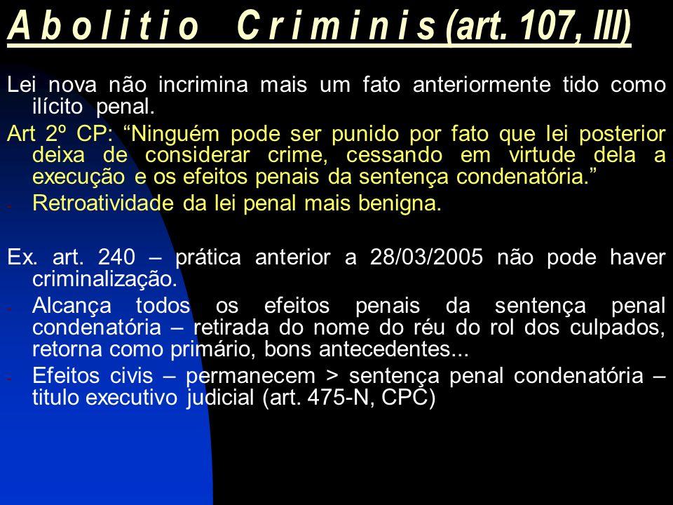 A b o l i t i o C r i m i n i s (art. 107, III) Lei nova não incrimina mais um fato anteriormente tido como ilícito penal. Art 2º CP: Ninguém pode ser