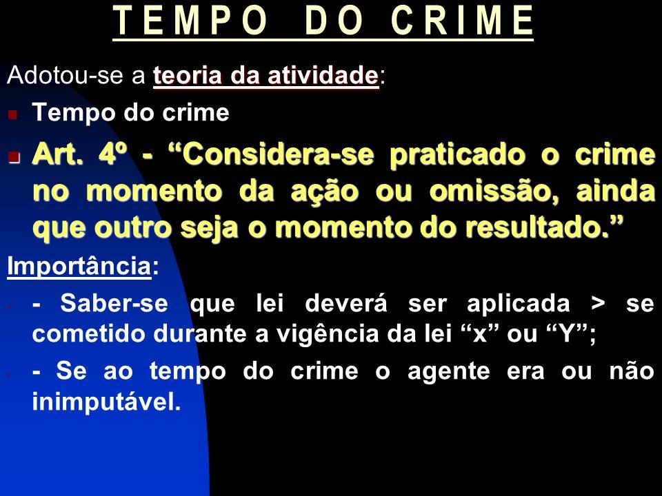 T E M P O D O C R I M E teoria da atividade Adotou-se a teoria da atividade: Tempo do crime Art. 4º - Considera-se praticado o crime no momento da açã