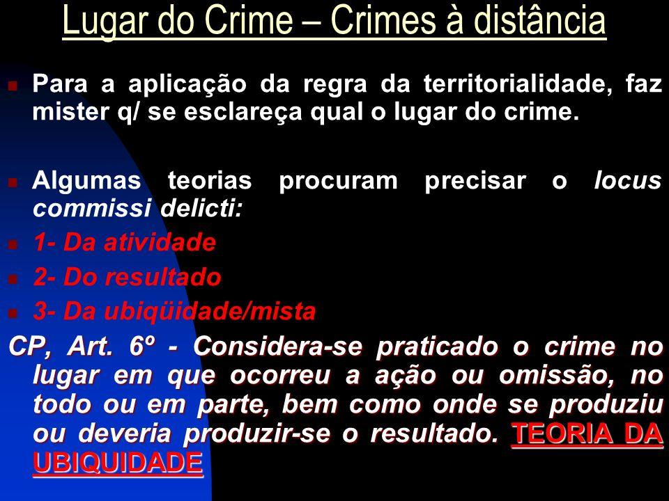 Lugar do Crime – Crimes à distância Para a aplicação da regra da territorialidade, faz mister q/ se esclareça qual o lugar do crime. Algumas teorias p