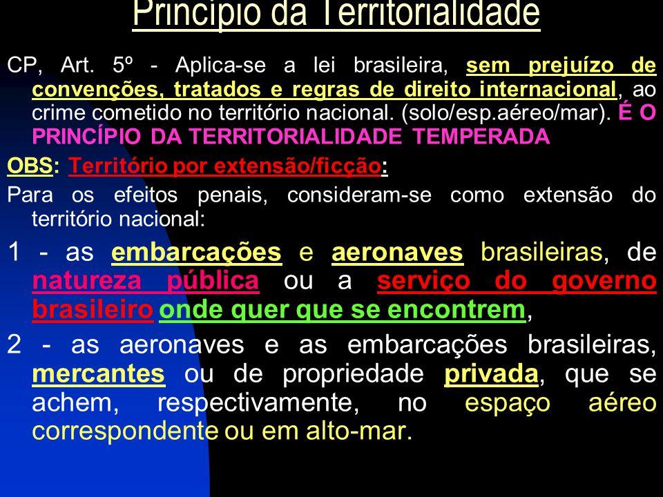 Princípio da Territorialidade CP, Art. 5º - Aplica-se a lei brasileira, sem prejuízo de convenções, tratados e regras de direito internacional, ao cri
