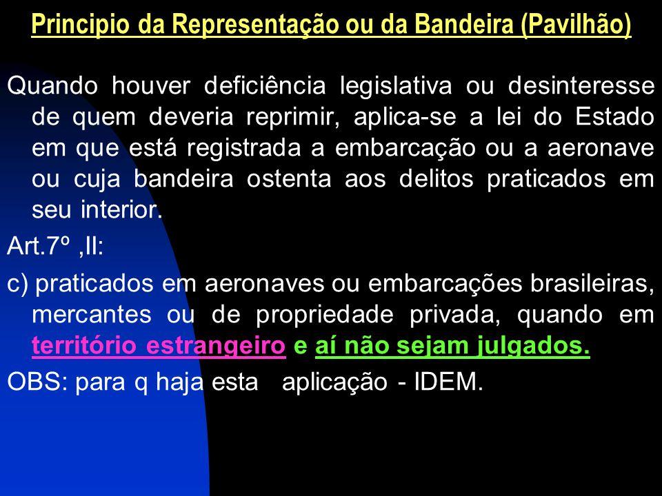 Principio da Representação ou da Bandeira (Pavilhão) Quando houver deficiência legislativa ou desinteresse de quem deveria reprimir, aplica-se a lei d