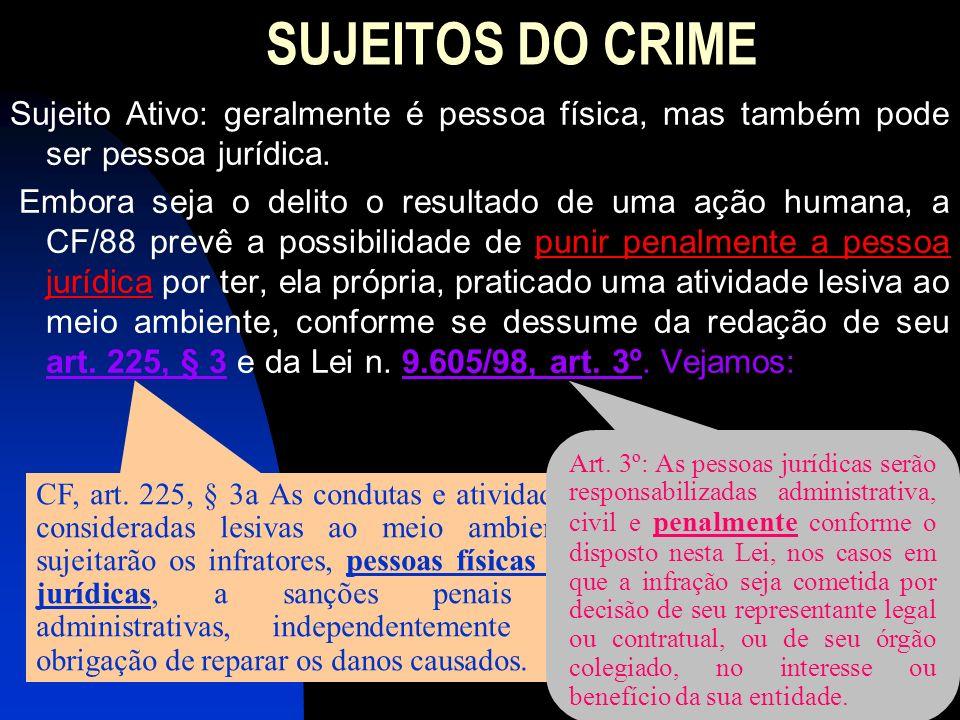 SUJEITOS DO CRIME Sujeito Ativo: geralmente é pessoa física, mas também pode ser pessoa jurídica. Embora seja o delito o resultado de uma ação humana,