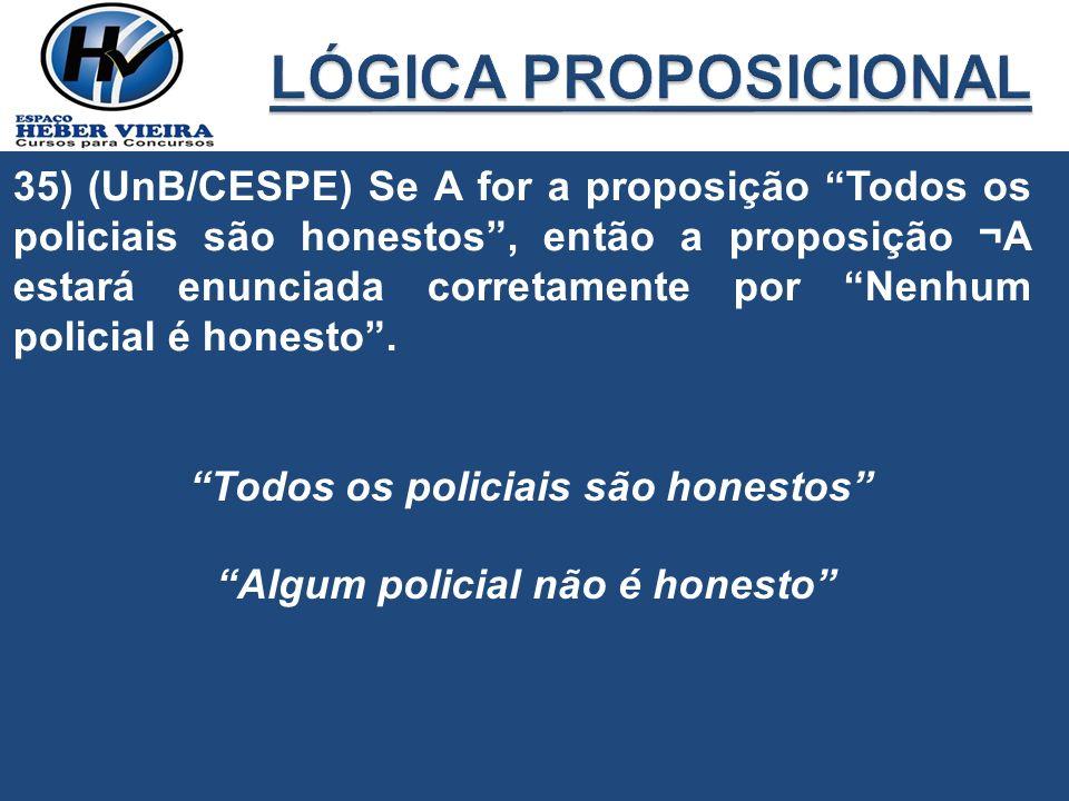 35) (UnB/CESPE) Se A for a proposição Todos os policiais são honestos, então a proposição ¬A estará enunciada corretamente por Nenhum policial é hones