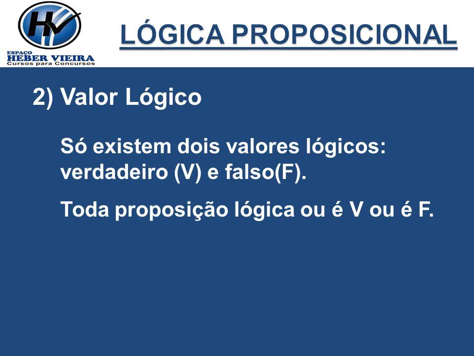 2) Valor Lógico Só existem dois valores lógicos: verdadeiro (V) e falso(F). Toda proposição lógica ou é V ou é F.