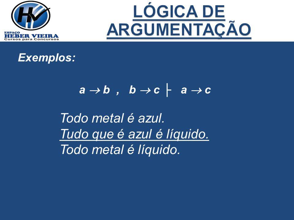 Exemplos: a b, b c a c Todo metal é azul. Tudo que é azul é líquido. Todo metal é líquido.