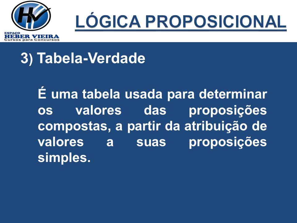 3 ) Tabela-Verdade É uma tabela usada para determinar os valores das proposições compostas, a partir da atribuição de valores a suas proposições simpl