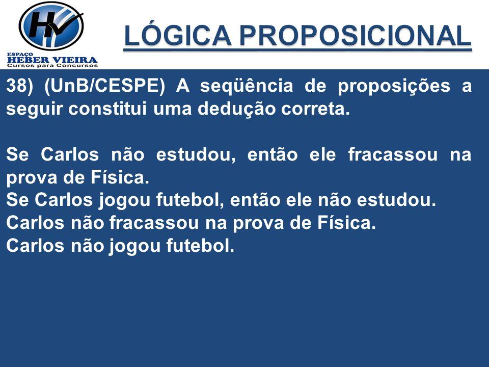 38) (UnB/CESPE) A seqüência de proposições a seguir constitui uma dedução correta. Se Carlos não estudou, então ele fracassou na prova de Física. Se C
