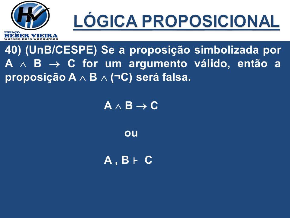 40) (UnB/CESPE) Se a proposição simbolizada por A B C for um argumento válido, então a proposição A B (¬C) será falsa. A B C ou A, B C