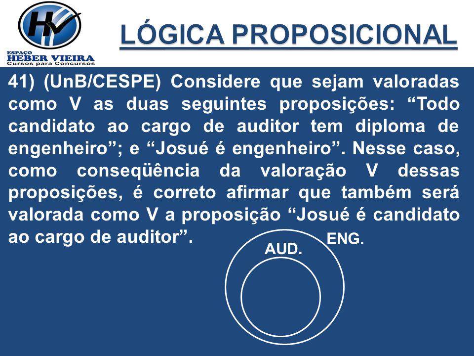 41) (UnB/CESPE) Considere que sejam valoradas como V as duas seguintes proposições: Todo candidato ao cargo de auditor tem diploma de engenheiro; e Jo