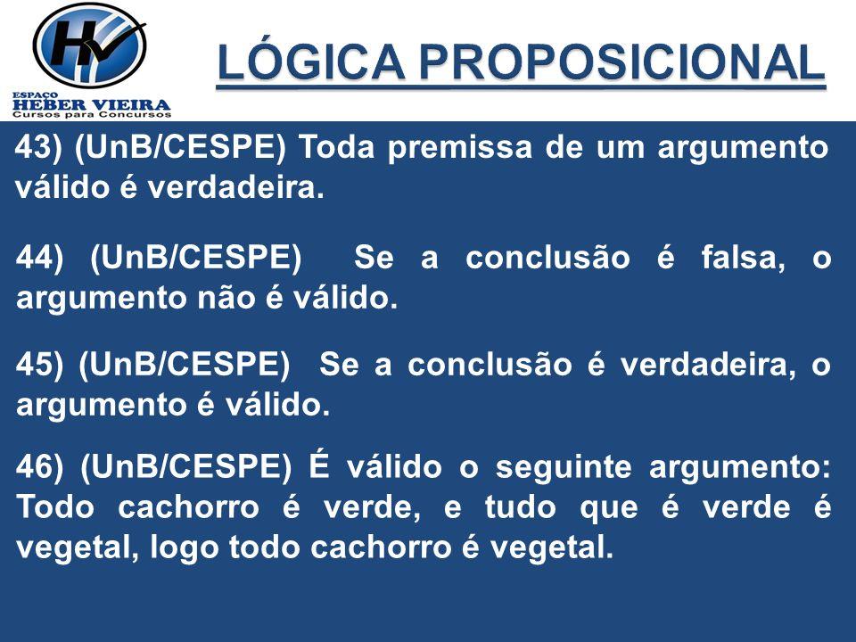 43) (UnB/CESPE) Toda premissa de um argumento válido é verdadeira. 44) (UnB/CESPE) Se a conclusão é falsa, o argumento não é válido. 45) (UnB/CESPE) S