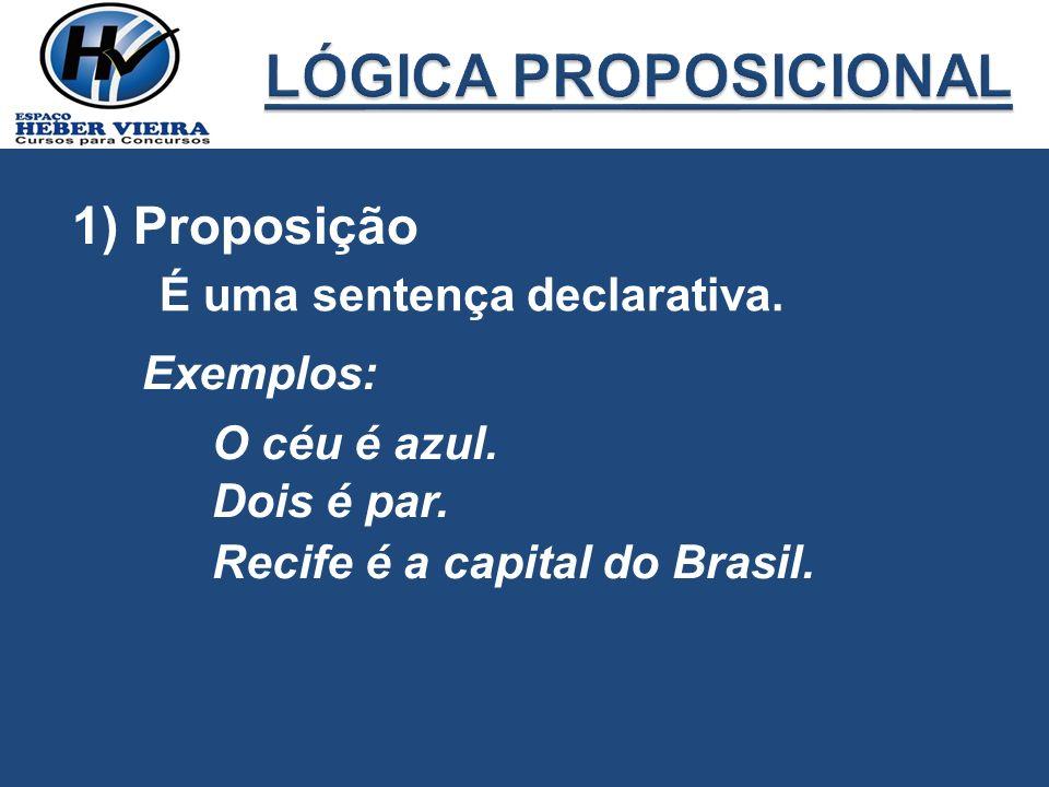 1) Proposição É uma sentença declarativa. Exemplos: O céu é azul. Dois é par. Recife é a capital do Brasil.