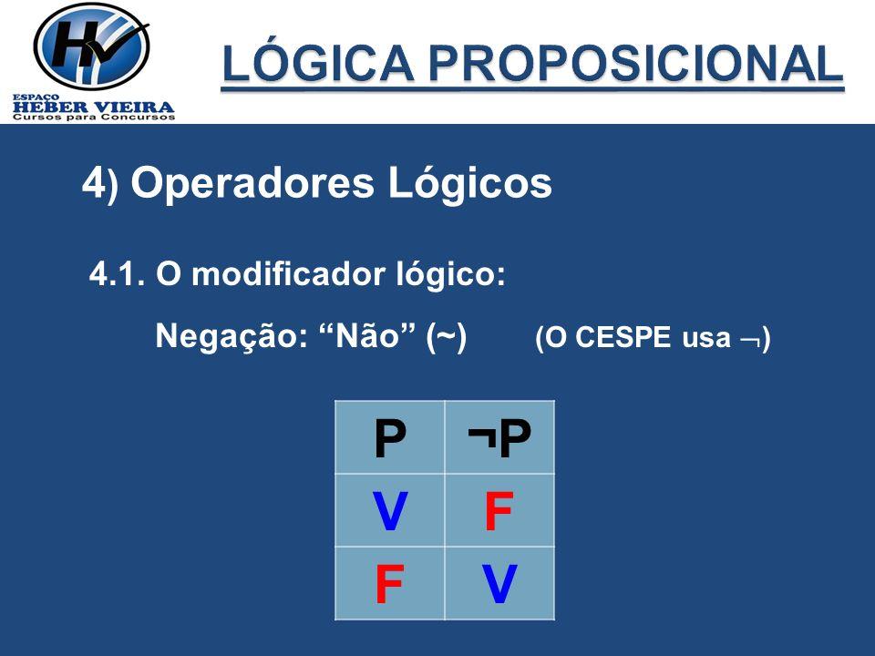 4.1. O modificador lógico: Negação: Não (~) (O CESPE usa ) P¬P VF FV 4 ) Operadores Lógicos