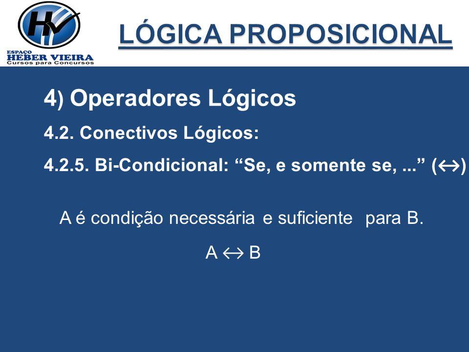4 ) Operadores Lógicos 4.2. Conectivos Lógicos: 4.2.5. Bi-Condicional: Se, e somente se,... ( ) A é condição necessária e suficiente para B. A B