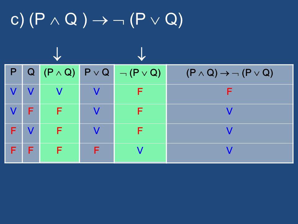 c) (P Q ) (P Q) PQ VV VF FV FF (P Q) V F F F P Q V V V F (P Q) F F F V F V V V