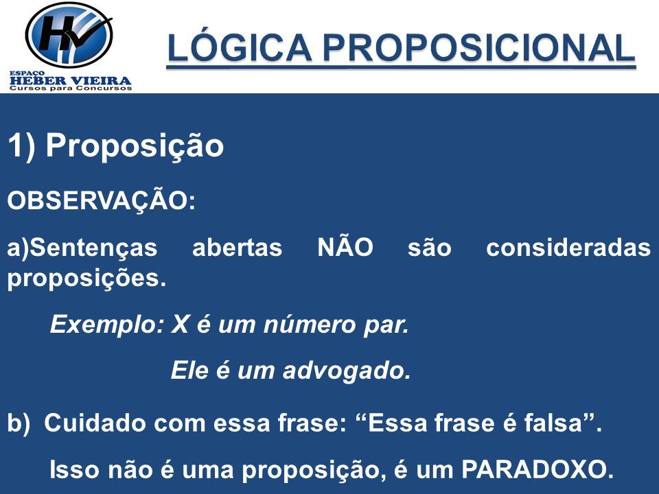 1) Proposição OBSERVAÇÃO: a)Sentenças abertas NÃO são consideradas proposições. Exemplo: X é um número par. Ele é um advogado. b)Cuidado com essa fras