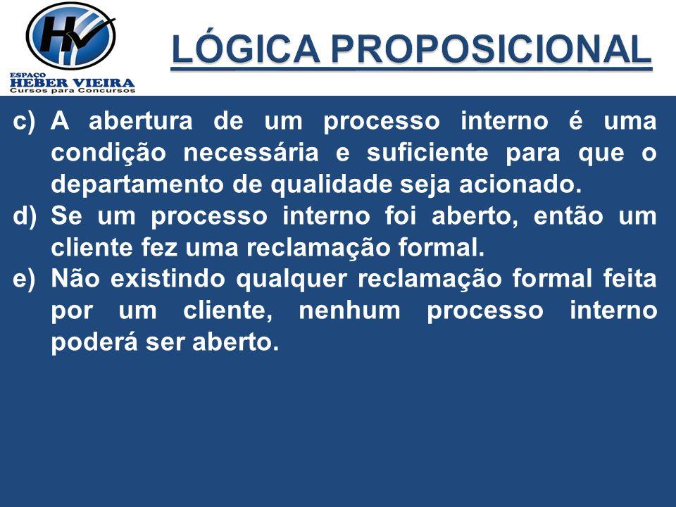c)A abertura de um processo interno é uma condição necessária e suficiente para que o departamento de qualidade seja acionado. d)Se um processo intern