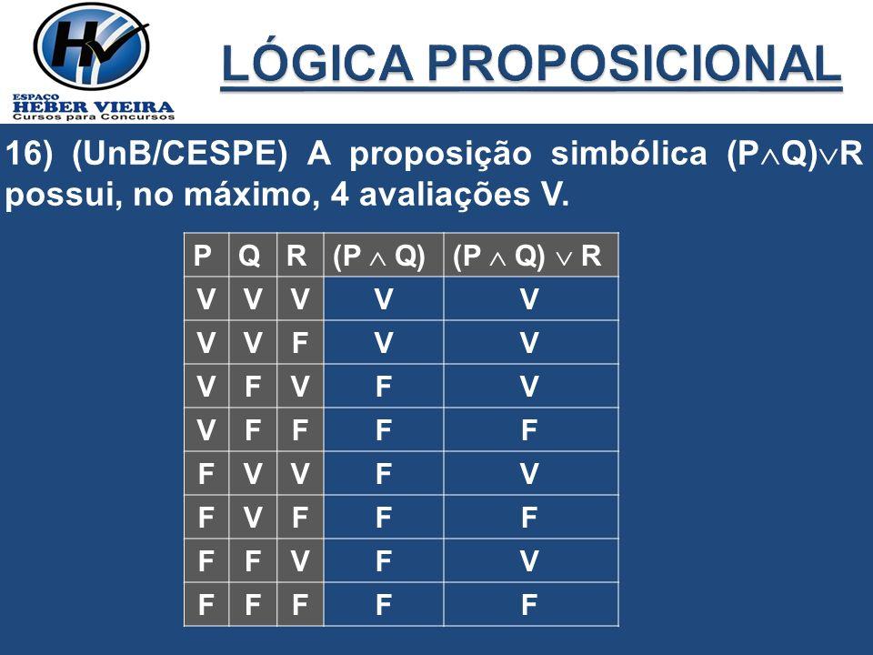 16) (UnB/CESPE) A proposição simbólica (P Q) R possui, no máximo, 4 avaliações V. PQR (P Q)(P Q) R VVV VVF VFV VFF FVV FVF FFV FFF V V F F F F F F V V